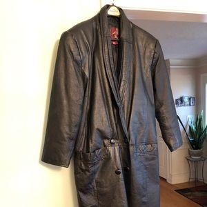 Jackets & Blazers - Ladies long leather coat size medium